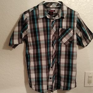 Boys striped husky button up dress shirt